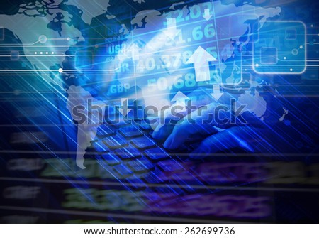 Business woman are checking exchange rates by using laptop - stock photo
