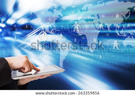 Business woman are sending email by using digital tablet - stock photo