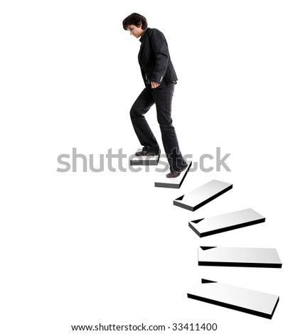 business woman ascending stairs in empty space on white background - stock photo