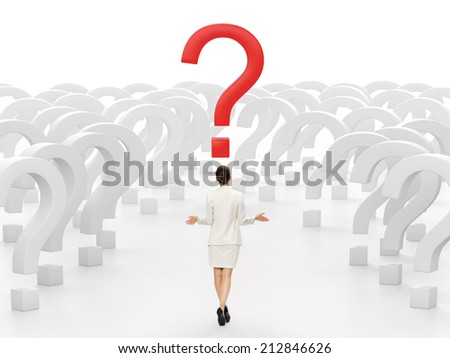 Business woman at a crossroads. Concept of decision-making. - stock photo