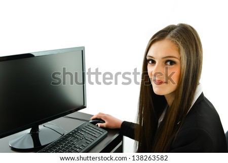 Business Woman at her Work Station - stock photo