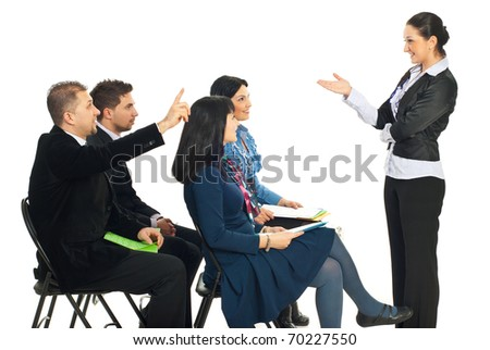 Business woman at seminar asking and one business man know the answer and raising hand isolated on white background - stock photo