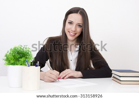 business woman at the office table