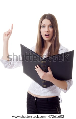 business woman book attention - stock photo