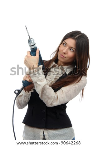Business woman builder with drill machine ready for construction work project isolated on a white background - stock photo