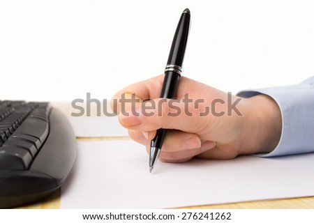 business woman calculating corporate results - stock photo