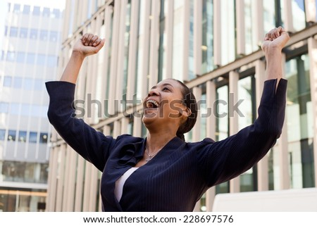 business woman celebrating. - stock photo
