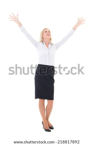 business woman celebrating success full length isolated on white background - stock photo