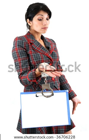 Business woman chained with copy-holder