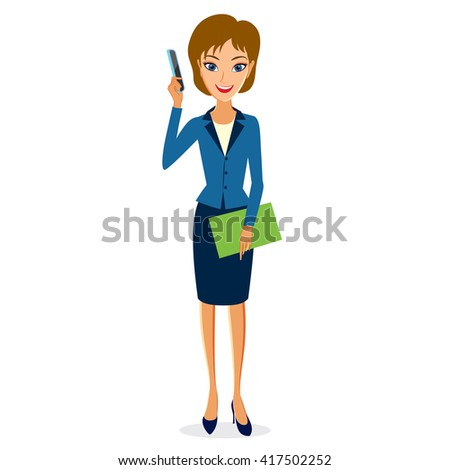 Business woman character . Cheerful smiling business woman character with smart phone. Woman business character isolated on white background - stock photo