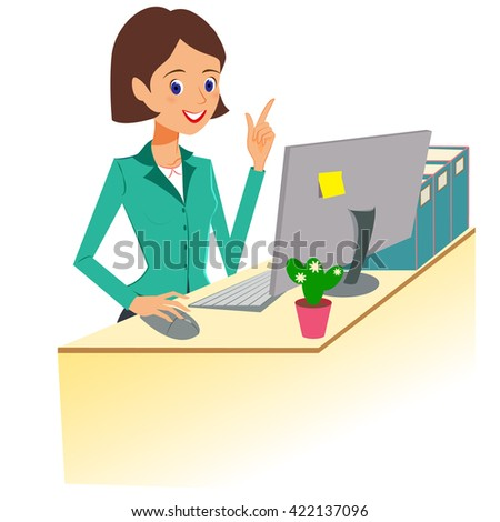Business woman character . Cheerful smiling cartoon female character working at the desk and gesturing for attention. Isolated on white background - stock photo