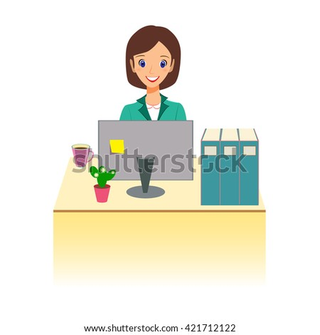 Business woman character . Cheerful smiling cartoon female working at the desk,  illustration, flat style, isolated on white background - stock photo