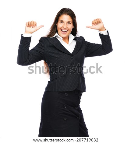 Business woman cheerful smiling pointing at herself   Isolated on a white background.  - stock photo