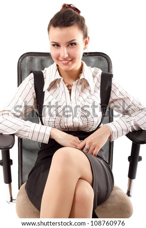business woman cheerful working with documents isolated on white background