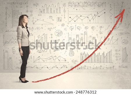 Business woman climbing on red graph arrow concept on background - stock photo