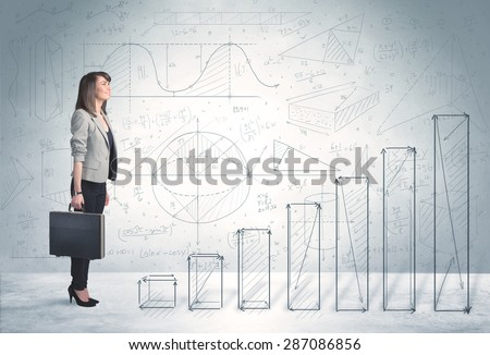 Business woman climbing up on hand drawn graphs concept on background - stock photo