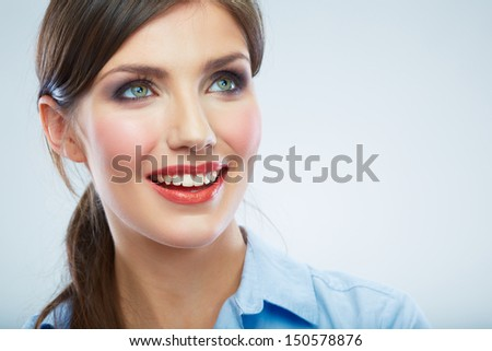 Business woman close up face portrait. Female model close up face. - stock photo