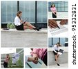 Business woman collage. Made of six photos. - stock photo