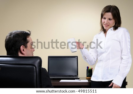 business woman communicating with manager - stock photo
