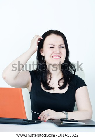 Business woman confused - stock photo