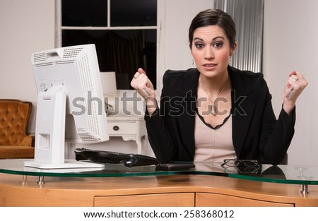 Business Woman Customer Service Center Frustrated Facial Expression - stock photo