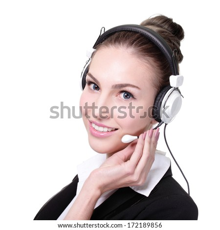 Business Woman customer service worker, call center smiling operator with phone headset. isolated on white background - stock photo