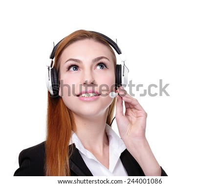 Business Woman customer service worker, call center smiling operator with phone headset. isolated on white background, caucasian - stock photo