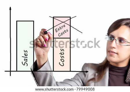 Business Woman decides to cut extra costs to be more competitive - stock photo