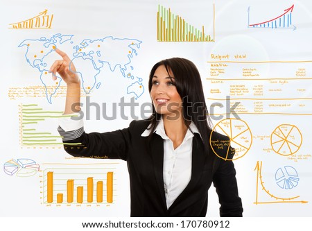 Business woman draw graph finance chart diagram, businesswoman drawing sketches, point finger on world map - stock photo