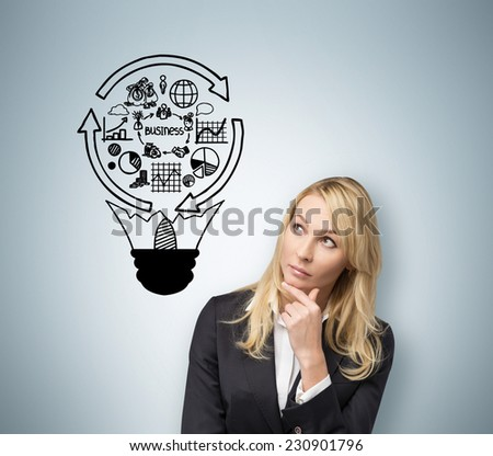Business woman drawing a business idea. Lightbulb and a business cycle flowchart.