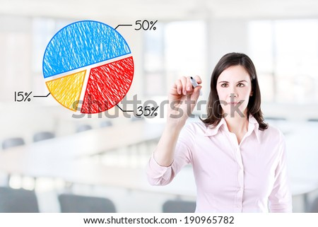 Business woman drawing a chart. Office background.