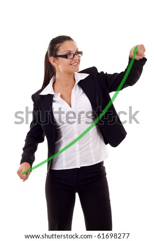 business woman drawing a growing graph over white - stock photo
