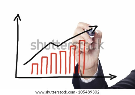 business woman drawing business chart on whiteboard
