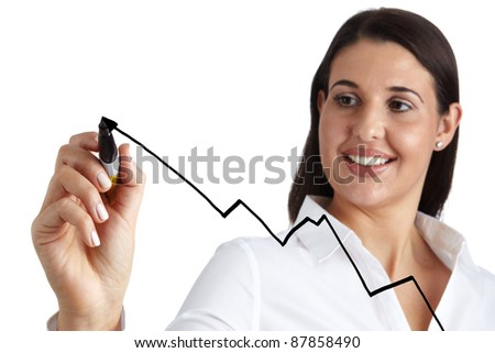 Business Woman drawing graph / chart