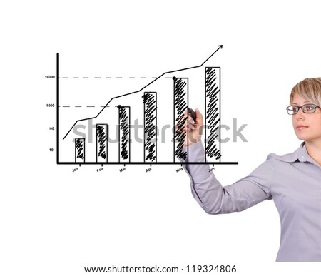 Business woman drawing graph showing profit growth - stock photo