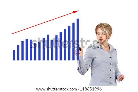 Business woman drawing graph showing profit growth on virtual screen - stock photo