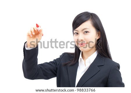 business woman drawing, isolated on white background - stock photo