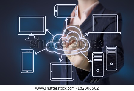 Business woman draws cloud computing concept - stock photo