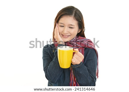 Business woman drinking coffee. - stock photo