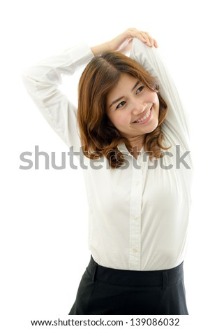 Business woman exercising. Office syndrome concept. - stock photo
