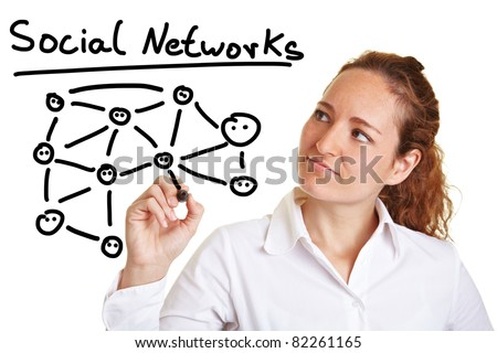 Business woman explaining social networks with a pen - stock photo