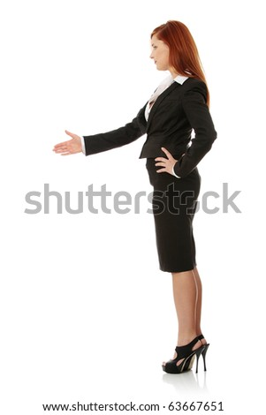 Business woman extend hand over white background - stock photo