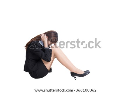 business woman feel unhappy in full length isolated on white background, asian - stock photo