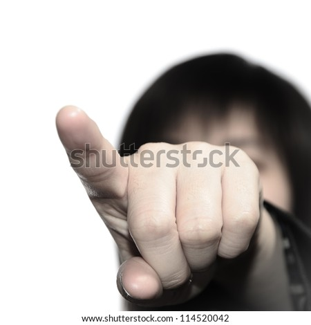 business woman finger point up isolated - stock photo