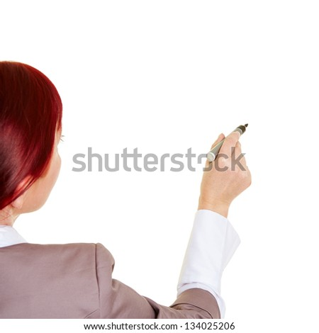Business woman from behind writing with pen - stock photo
