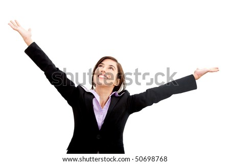 business woman full of success isolated over a white background
