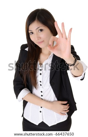 Business woman give you excellent sign over white background. - stock photo