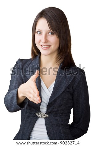 Business woman giving hand for handshake, isolated on white background - stock photo