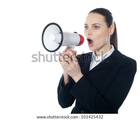 Business woman giving instructions with megaphone isolated over white
