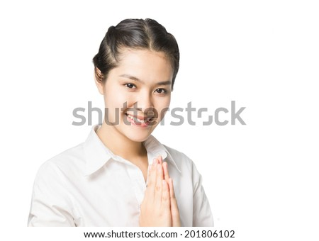 Business woman greeting with Thai culture  Sawasdee, welcome expression isolated on white background. - stock photo